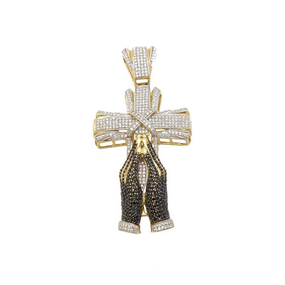 3D Iced-Out Praying Hands Cross CZ Pendant (14K) - Lucky Diamond