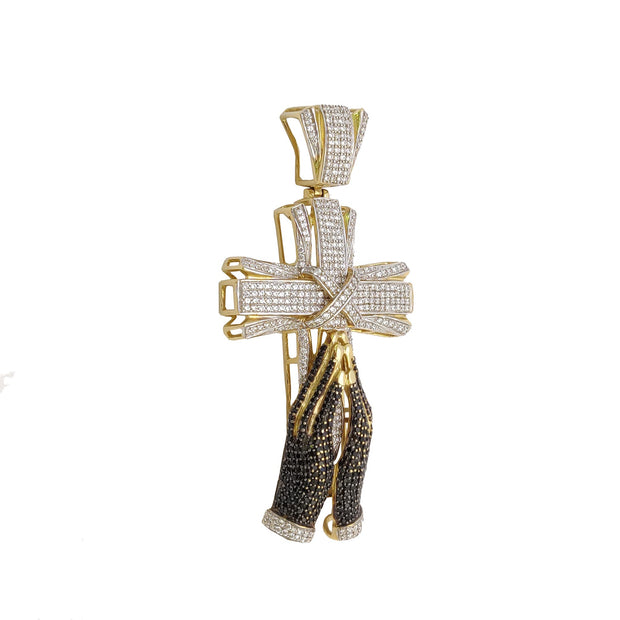 Iced-Out Praying Hands Cross CZ Pendant (14K)