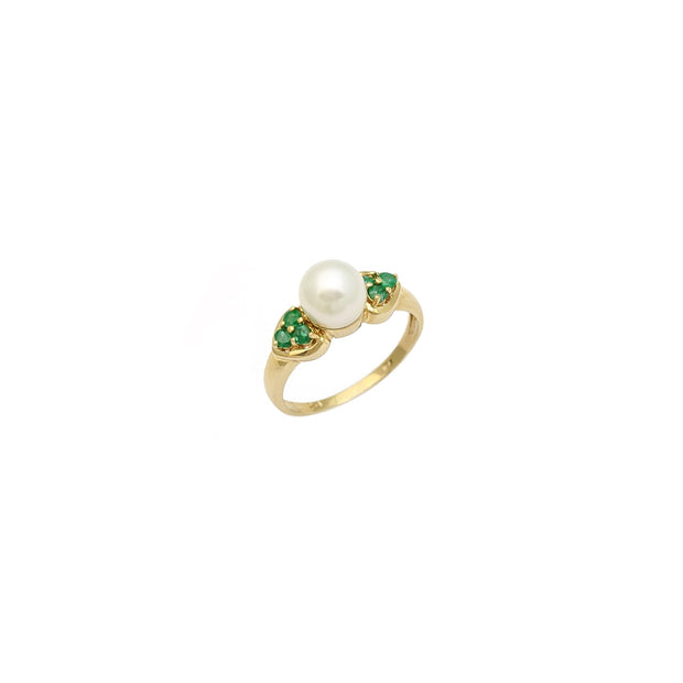 Pearl Emerald Accented Ring (10K) diagonal - Lucky Diamond - New York