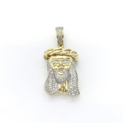 Diamond Crowned Jesus Head Pendant (10K) front - Lucky Diamond - New York