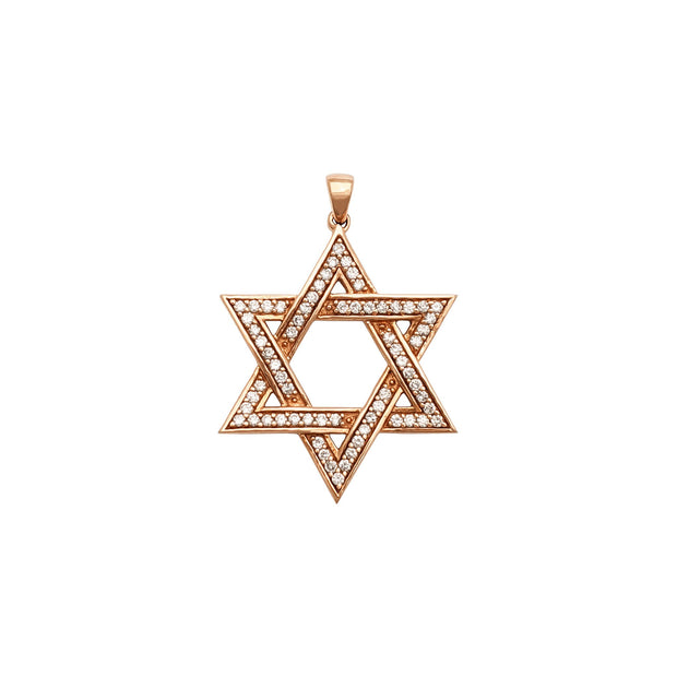 Diamond Star of David Pendant (14K) front - Lucky Diamond - New York