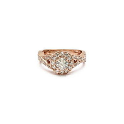 Entwined Round Cut Diamond Engagement Halo Ring (14K) front - Lucky Diamond - New York
