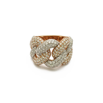 Wide Cuban Two-Tone Rose Gold Diamond Ring (14K) front - Lucky Diamond - New York