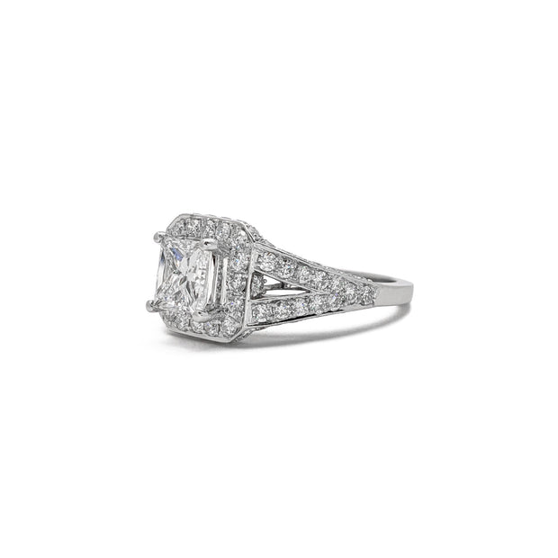 Princess Cut Diamond Engagement Halo Ring (14K) side - Lucky Diamond - New York