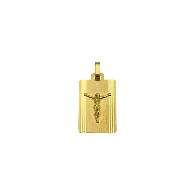Crucified Jesus Rectangular Streamlined Pendant (14K) front - Lucky Diamond - New York