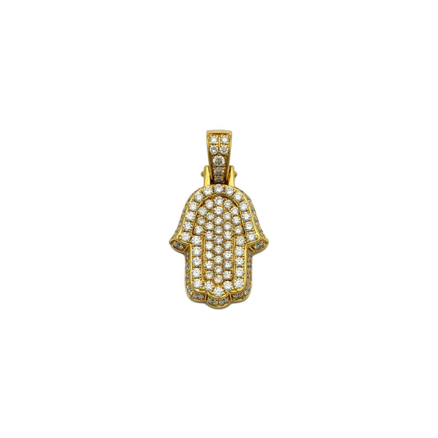 Diamond Iced-Out Bordered Hamsa Pendant (14K) front - Lucky Diamond - New York