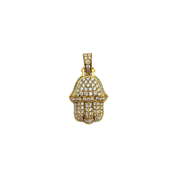 Hamsa Diamond Iced-Out Pendant (14K) front - Lucky Diamond - New York