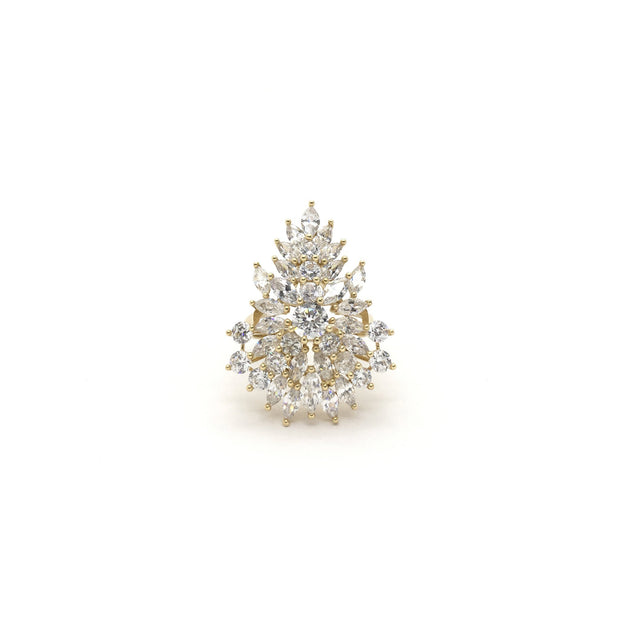 Marquise Cluster CZ Cocktail Ring (14K) front - Lucky Diamond - New York