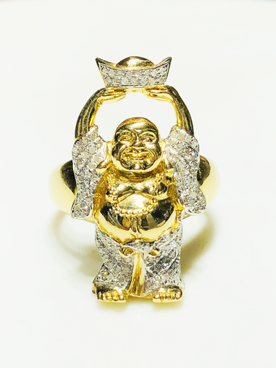 "Iced-Out Diamond ""Buddha of Wealth"" Ring (14K) - Lucky Diamond"