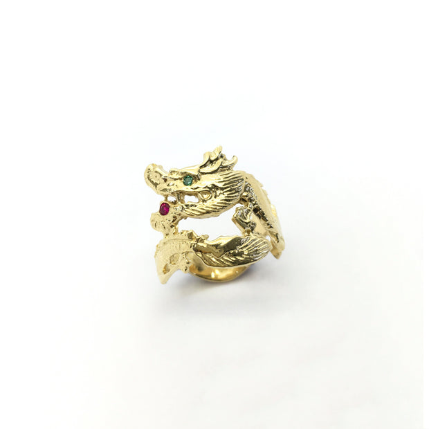 Coiled Dragon CZ Ring (14K) front 2 - Lucky Diamond - New York