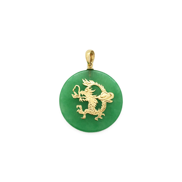 Dragon Chinese Zodiac Sign Jade Medallion Pendant (14K) front - Lucky Diamond - New York