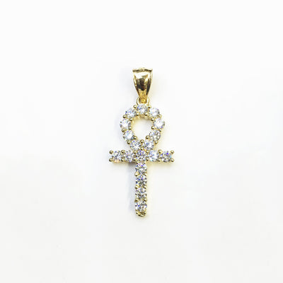 Iced Out Ankh CZ Pendant (14K) front - Lucky Diamond - New York
