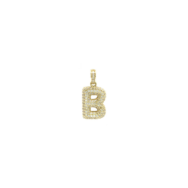 Icy Initial Letter B CZ Pendant (14K) front - Lucky Diamond - New York