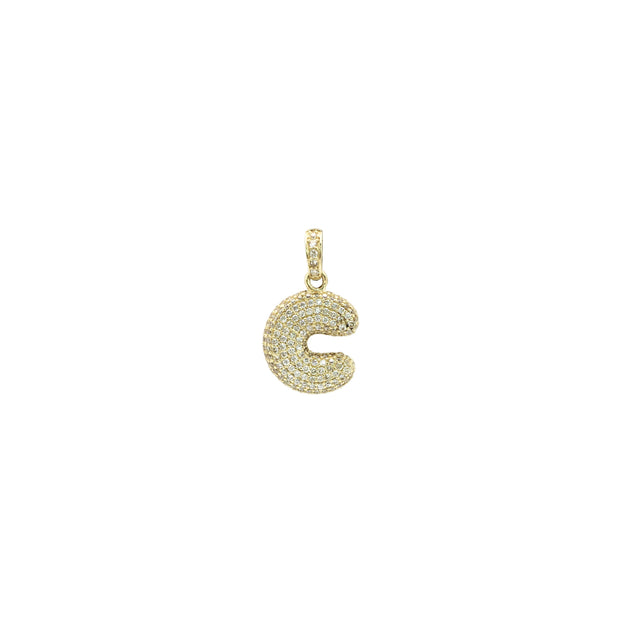 Icy Initial Letter C CZ Pendant (14K) front - Lucky Diamond - New York