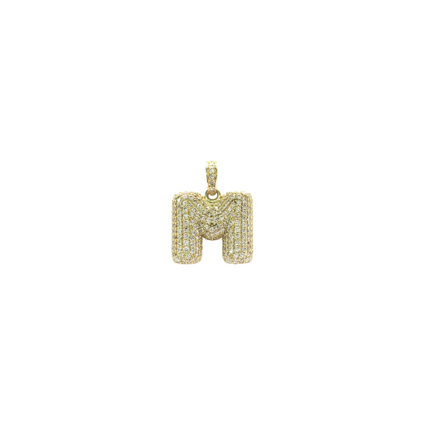 Icy Initial Letter M CZ Pendant (14K) - Lucky Diamond - New York