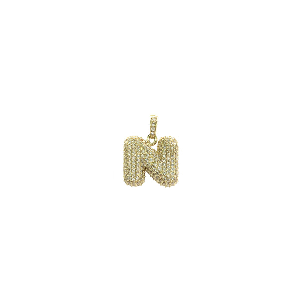 Icy Initial Letter N CZ Pendant (14K) - Lucky Diamond - New York
