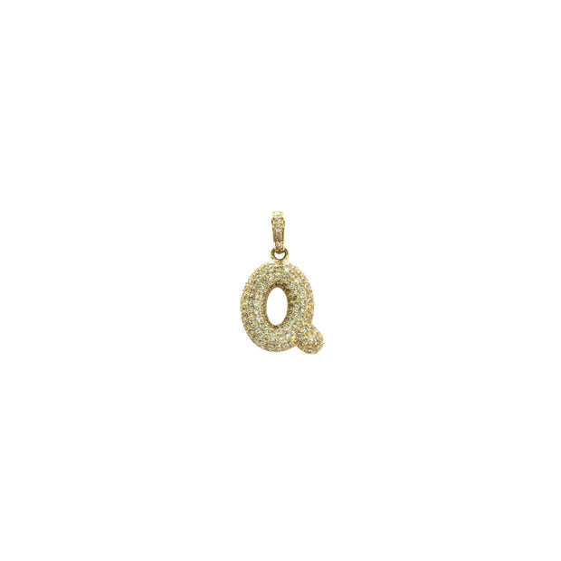 Icy Initial Letter Q CZ Pendant (14K) - Lucky Diamond - New York