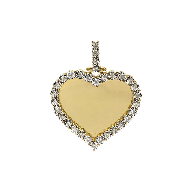 Diamond Invisible Heart Memorial Picture Pendant (10K) (14K) front - Lucky Diamond - New York