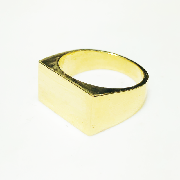 Rectangle Signet Ring (Silver; Gold)