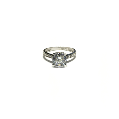 Round CZ Solitaire Four-Prong Ring (14K) front - Lucky Diamond - New York