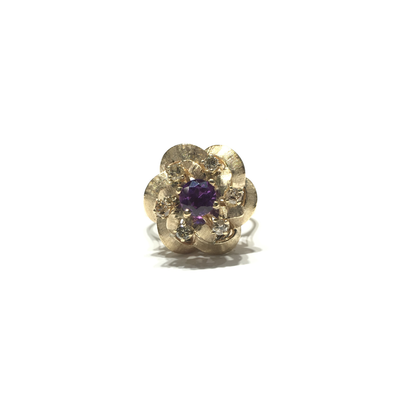 Flower Amethyst and Diamond Statement Ring (14K) front - Lucky Diamond - New York