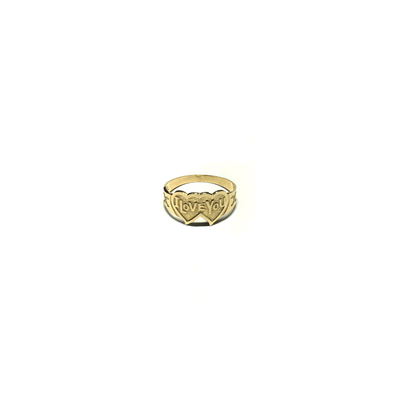 I Love You' Double Heart Ring (14K) front - Lucky Diamond - New York