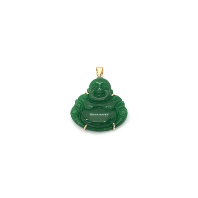 Jade Buddha Pendant (14K) front - Lucky Diamond - New York