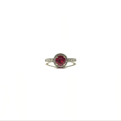Red Round CZ Halo Ring (14K) front - Lucky Diamond - New York