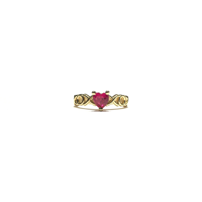 XOX Pink Red Heart CZ Ring (14K) front - Lucky Diamond - New York