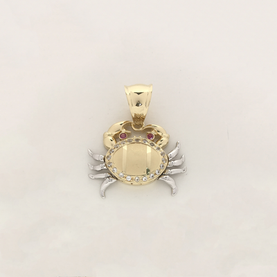 Crab CZ Tricolor Motion Pendant (14K) - Lucky Diamond New York