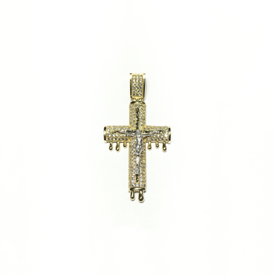 Dripping Crucified Jesus CZ Pendant (14K) front - Lucky Diamond - New York