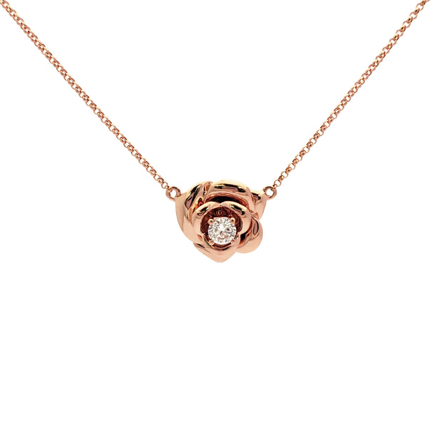Diamond Rose Blossom Necklace Rose Gold (18K) front - Lucky Diamond - New York
