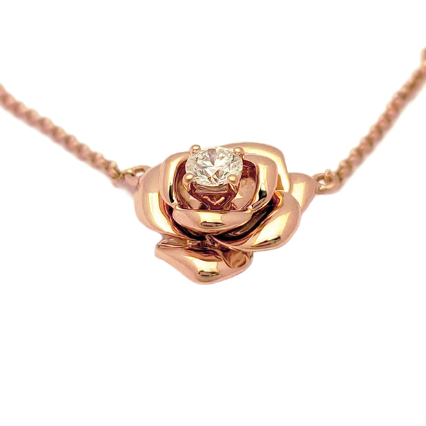 Diamond Rose Blossom Necklace Rose Gold (18K) side - Lucky Diamond - New York