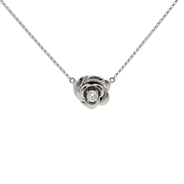 Diamond Rose Blossom Necklace White Gold (18K) front - Lucky Diamond - New York