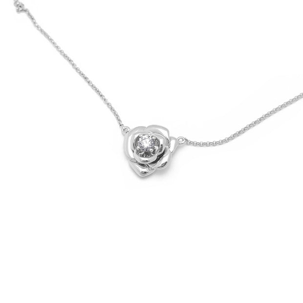 Diamond Rose Blossom Necklace White Gold (18K) top - Lucky Diamond - New York