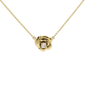 Diamond Rose Blossom Necklace Yellow Gold (18K) front - Lucky Diamond - New York
