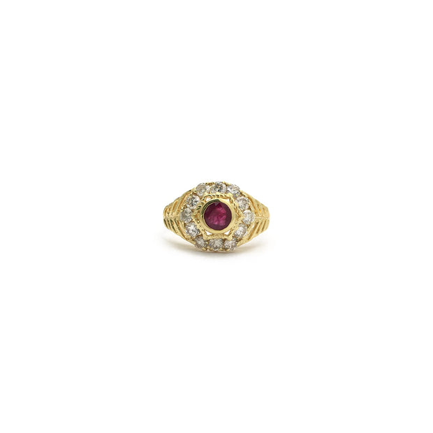 Ruby and Diamonds Braided Bezel Ring (18K) front - Lucky Diamond - New York