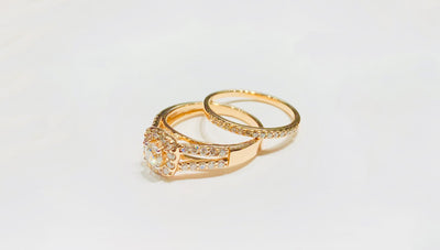 Diamond Square Double Ring (14K). - Lucky Diamond