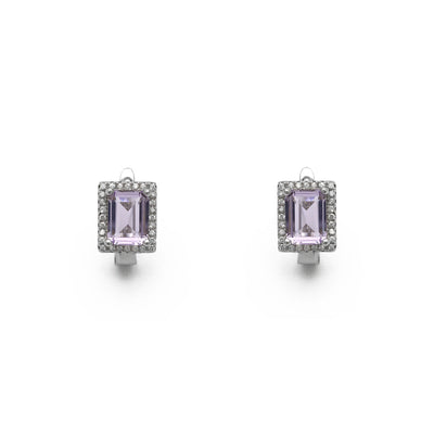 Lilac Emerald-Cut Halo Stud Earrings (Silver) front - Lucky Diamond - New York