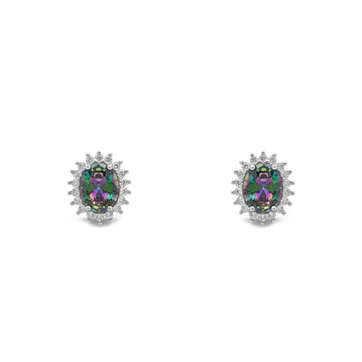 Mystic Fire Stone Oval-Cut Halo Stud Earrings (Silver) front - Lucky Diamond - New York