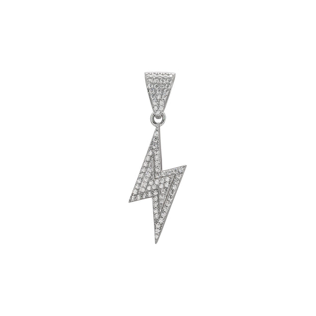 Iced-Out Lightning Bolt Pendant (Silver) front - Lucky Diamond - New York
