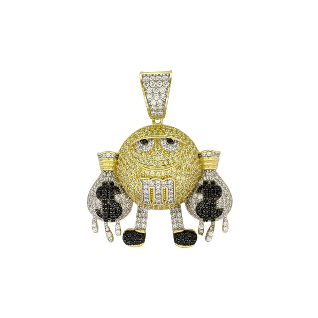 Iced-Out Rich Yellow M&M Pendant (Silver) front - Lucky Diamond - New York