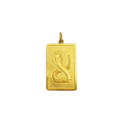 Auspicious Snake Chinese Zodiac Sign Bar Pendant (24K) front - Lucky Diamond - New York