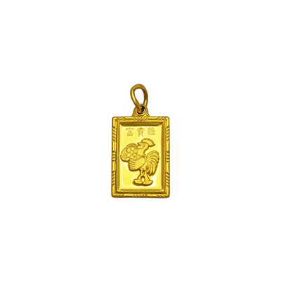 Lucky Rooster Bar Pendant (24K) front - Lucky Diamond - New York