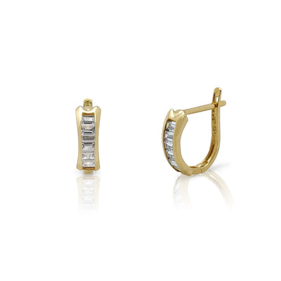 Bar Channel Setting Huggie Earrings (14K) Lucky Diamond New York