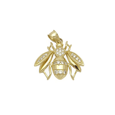 3D Hollow Bee CZ Pendant (14K) - Lucky Diamond