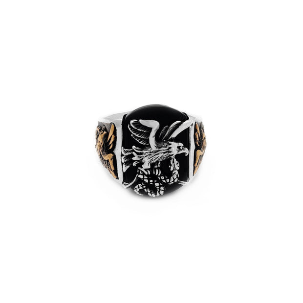 Black Onyx Eagle & Snake Ring (Silver) Lucky Diamond New York
