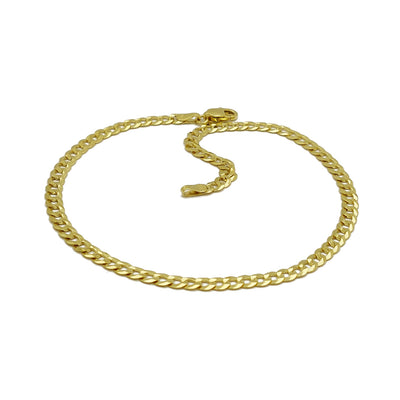 Brilliant Italian Cuban Anklet (14K) 14 Karat Yellow Gold, Lucky Diamond New York