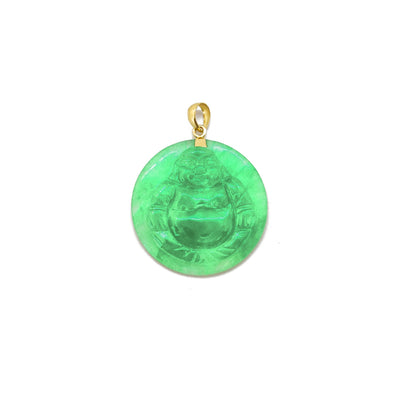 Jade Laughing Buddha Medallion Pendant (14K) 14 Karat Yellow Gold, Lucky Diamond New York