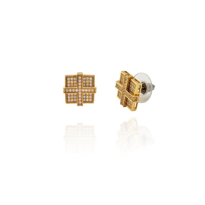 Cross on Square Earrings (Silver) New York Lucky Diamond